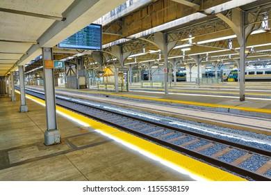 Toronto, Ontario, Canada-27 June, 2017: Toronto Union station terminal and railway tracks