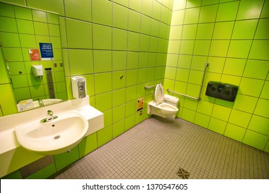 Toronto, Ontario, Canada-4 April, 2019: Unisex all-gender and Gender neutral Restroom