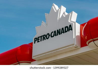 Toronto, Ontario, Canada-April 26, 2019: Petro-Canada sign: Petro-Canada is a retail and wholesale marketing brand of Suncor Energy