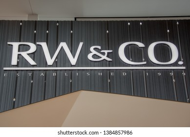 Toronto, Ontario, Canada-April 5, 2019:   RW & Co store signage. RW & Co is a clothing store for men and women.