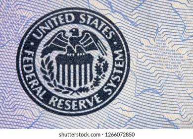 Toronto, Ontario, Canada-December 12, 2018: Macro of the US Federal Reserve System. The symbol is seen on a US 50 dollar bill.