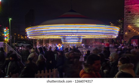 Toronto, Ontario, Canada-December 12, 2018:Christmas Market in the historic Distillery District. Long exposure.. The place is a tourist attracton