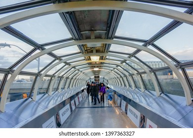 Toronto, Ontario, Canada-March 26, 2019:  Modern architecture: skywalk between Yorkdale Shopping Centre and the Yorkdale TTC subway station.