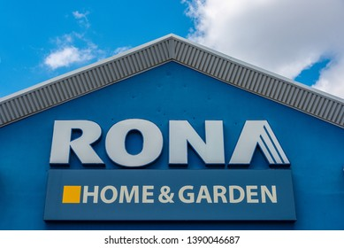 Toronto, Ontario, Canada-May 2, 2019: Rona Home and Garden sign at the store entrance. The Canadian company has been acquired by Lowe's.