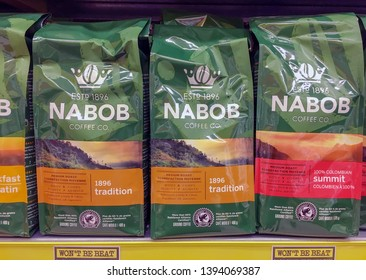 Toronto, Ontario, Canada-May 5, 2019: Nabob coffee bags in grocery store display. Nabob is a brand of coffee produced by Kraft Foods and sold in Canada since 1896.