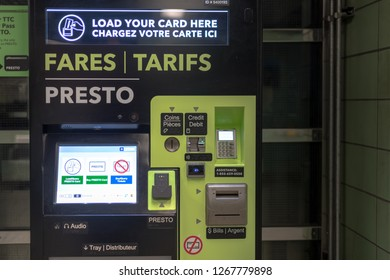 Toronto, Ontario, Canada-October 9, 2018:An automatic Presto Fares Machine inside a subway station in the downtown district. The TTC is giving the final touches to implement the Presto system