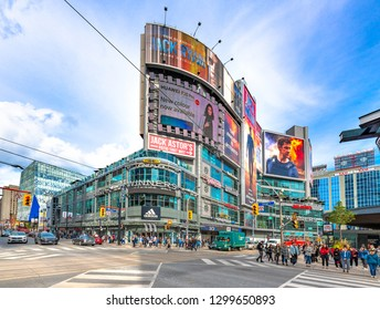 Toronto, Ontario, Canada-September 27,2018:  Wide angle view of the Yonge Dundas Square in the downtown district. The area is a famous place and a tourist attraction in the Canadian city