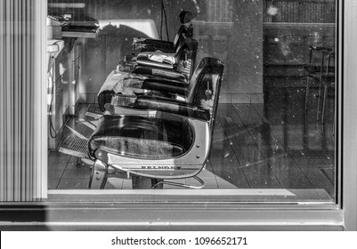 Toronto, Ontario, January 23, 2017 - Old Fashioned Barber Shop Shot Through A Window.