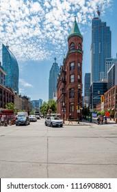 TORONTO, ONTARIO - July 06, 2017: Gooderham or Flatiron Building in downtown Toronto - Toronto, Ontario, Canada