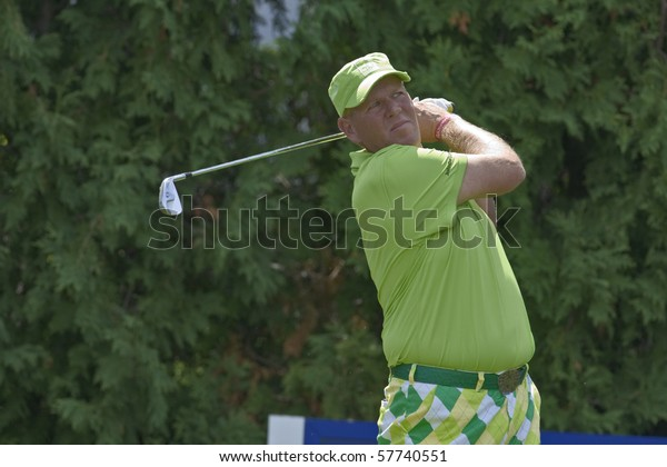 TORONTO, ONTARIO - JULY 21: US golfer John Daly tees off during a pro-am event at the RBC Canadian Open golf on July 21, 2010 on Toronto, Ontario.