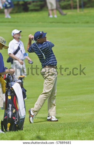 TORONTO, ONTARIO - JULY 21 : U.S. golfer Fred Couples follows his tee shot during a pro-am event at the RBC Canadian Open,   St. George's  Golf and Country Club,  July 21, 2010 in Toronto, Ontario.