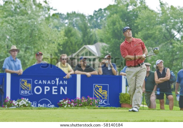 TORONTO, ONTARIO - JULY 21: US golfer Chris DiMarco keeps his eye on a tee shot during a pro-am event at the RBC Canadian Open, St. George's; Golf and Country Club on July 21, 2010 in Toronto, Ontario.