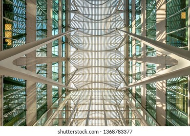 TORONTO, ONTARIO, July 6, 2017: Interior of the the multi level Eaton Centre, the largest mall in Toronto, July 9. 2017 in Toronto, Ontario Canada