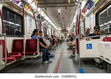 TORONTO, ONTARIO - SEPTEMBER 5: Interior of Toronto subway, in Toronto, ON, on September 5, 2013. Toronto subway and bus system is operated solely by the company TTC.