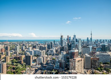 TORONTO, ONTARIO - SEPTEMBER 7: Downtown Toronto with Lake Ontario in background, in Toronto, ON, on September 7, 2013. Toronto is the 5th largest city in the continent of North America.