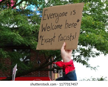 "Toronto, Ontario/Canada - 09/09/2018: Sign at Danforth United Against Hate rally, ""Everyone is welcome here except racists."""