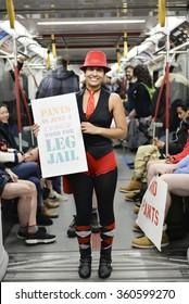 TORONTO, ONTARIO/CANADA - 10th Sunday January 2016 : Toronto people took part in no pants subway ride in Toronto, Canada.