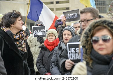 TORONTO, ONTARIO/CANADA -  11th Sunday January 2015 : Toronto people meets in a vigil to honor the victims of the Charlie Hebdo magazine shootings and to demonstrate against the terrorism.