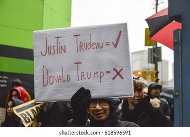 TORONTO, ONTARIO/CANADA - 19th November  Saturday 2016: Hundreds gathered at Trump hotel on Nov. 19 to protest Donald Trump in Toronto.