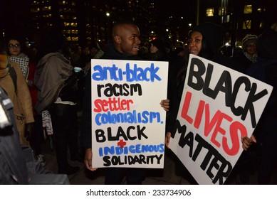 TORONTO, ONTARIO/CANADA - 25th Tuesday November  2014 : Toronto's Black Community takes action in solidarity with Ferguson protesters in Toronto, Canada.
