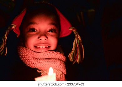 TORONTO, ONTARIO/CANADA - 25th Tuesday November  2014 : Little girl taking action  action in solidarity with Ferguson protesters in Toronto, Canada.