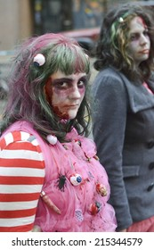 TORONTO, ONTARIO/CANADA - 26th SATURDAY  OCTOBER 2013 : Girl  dress up as zombie showing anger expression  on 11th annual Zombie in Toronto,Canada.