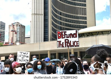TORONTO, ONTARIO/CANADA – 6th Saturday June 2020 : Thousands of people took to Toronto streets in separate events to protest anti-black racism and police brutality on Saturday.in Toronto, Canada.