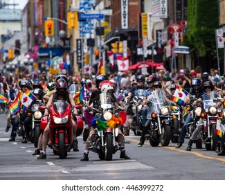 Toronto, Ontario/Canada   July 2, 2916: The Toronto 2016 Dyke March paraded its way down Yonge Street today led by the Black Lives Matter Toronto Coalition.  Pride month concludes on July 3, 2016.