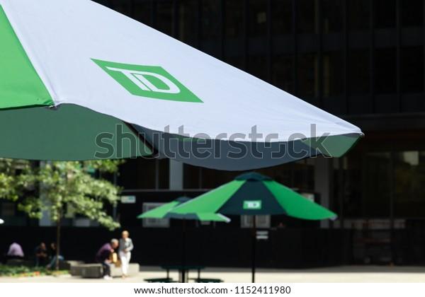 Toronto, Ontario/Canada - July 20 2018: Toronto Dominion Bank Umbrellas in TD Plaza Square King Street Bay Street Summer