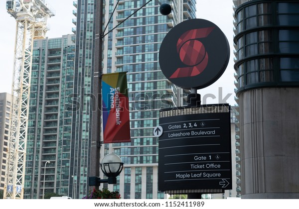 Toronto, Ontario/Canada - July 20 2018: Scotiabank Arena Signage Sign Post downtown Toronto Union Station Skyline