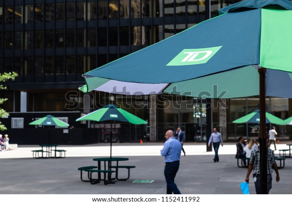 Toronto, Ontario/Canada - July 20 2018: Toronto Dominion Bank Umbrellas in TD Plaza Square King Street Bay Street Summer