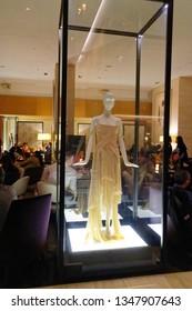 TORONTO ONTARIO/CANADA NOVEMBER 18 2017 The Shipwreck Dress designer dress by Alexander McQueen in a glass case inside The Bar of the Shangri La hotel in Toronto, Canada