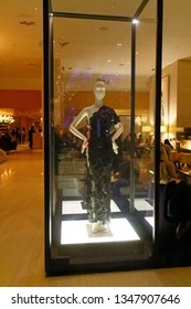TORONTO ONTARIO/CANADA NOVEMBER 18 2017 The Supermodel Dress by Yves Saint Laurent designer dress in a glass case inside The Bar of the Shangri La hotel in Toronto, Canada