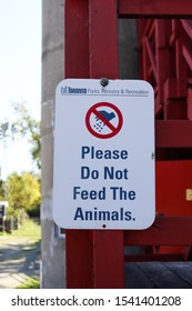 Toronto, Ontario/Canada -October 11 2019:  Sign saying Do Not Feed The Animals at Far Enough Farm, a recreational area on Centre Island, featuring common farm animals for children to visit