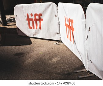 Toronto, Ontario/Canada - September 5 2019: Barricades for crowd control on King Street on opening day at the Toronto International Film Festival (TIFF).