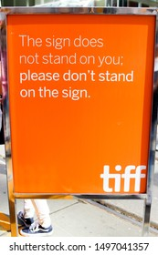 Toronto, Ontario/Canada - September 5 2019: Amusing sign on King Street for opening day at the Toronto International Film Festival (TIFF).