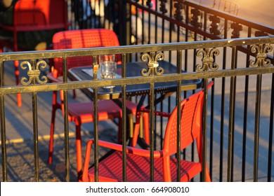 Toronto, restaurant tables on Bloor street