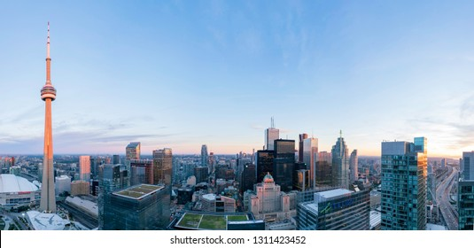 Toronto, SEP 29: Aerial dawn view of the downtown cityscapecityscape with CN Tower on SEP 29, 2018 at Toronto, Canada