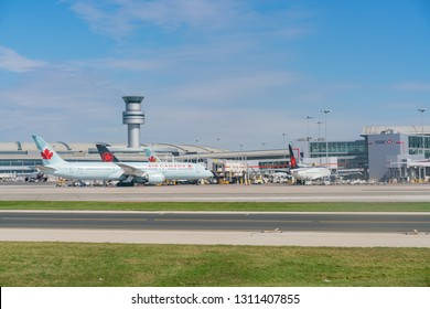 Toronto, SEP 31: Exterior view of the Toronto Pearson International Airport and Air Canada airplane on SEP 31, 2018 at Toronto