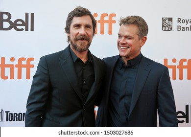 "TORONTO - SEPT 9: Christian Bale (L) and Matt Damon attend the ""Ford v Ferrari"" premiere on September 9, 2019 at Roy Thomson Hall at the 2019 Toronto International Film Festival in Toronto, Canada."