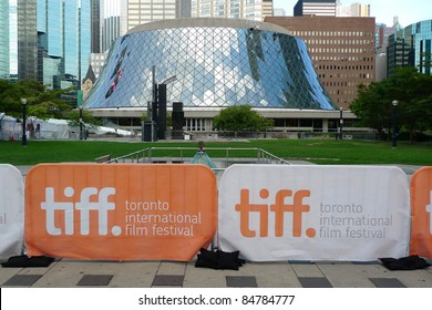 TORONTO - SEPTEMBER 16: Banners of the 36th Toronto International Film Festival in front of Roy Thomson Hall, a major venue of the event, Sept 16, 2011 in Toronto, Canada