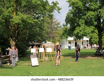 TORONTO - SEPTEMBER 18, 2016: Painting at farmers market on September 18, 2016 in Black Creek Pioneer village in Toronto, Canada.