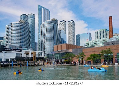 TORONTO - SEPTEMBER 2018;  The waterfront area of downtown Toronto, formerly industrial, has become a popular residential and recreational area.