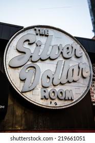 TORONTO - SEPTEMBER 24, 2014: The iconic Silver Dollar Room sign, a landmark music venue on Spadina Street in Toronto, Canada.