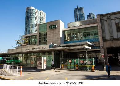 TORONTO - SEPTEMBER 24, 2014: The Union Station Bus Terminal in Toronto, Canada on a sunny day.