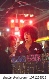 TORONTO - SEPTEMBER 25: An activist shouting slogans during a rally to speak about the plurality of violence and anti-Black racism in Toronto, Canada, on September 27, 2015.