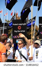 TORONTO - SEPTEMBER 3: ACTRA union members marching at the 2012 Labor Day Parade on September 3, 2012 in Toronto. The 2012, was the 141st edition of the parade.
