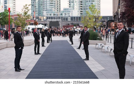 Toronto - September 6, 2014: The black carpet at The Giorgio Armani Films of City Frames Cocktail Party Black Carpet at CN Tower, TIFF 2014.