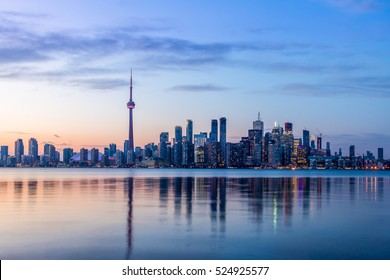 Toronto Skyline with blue light - Toronto, Ontario, Canada