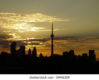 Toronto skyline with CN tower in olive green light